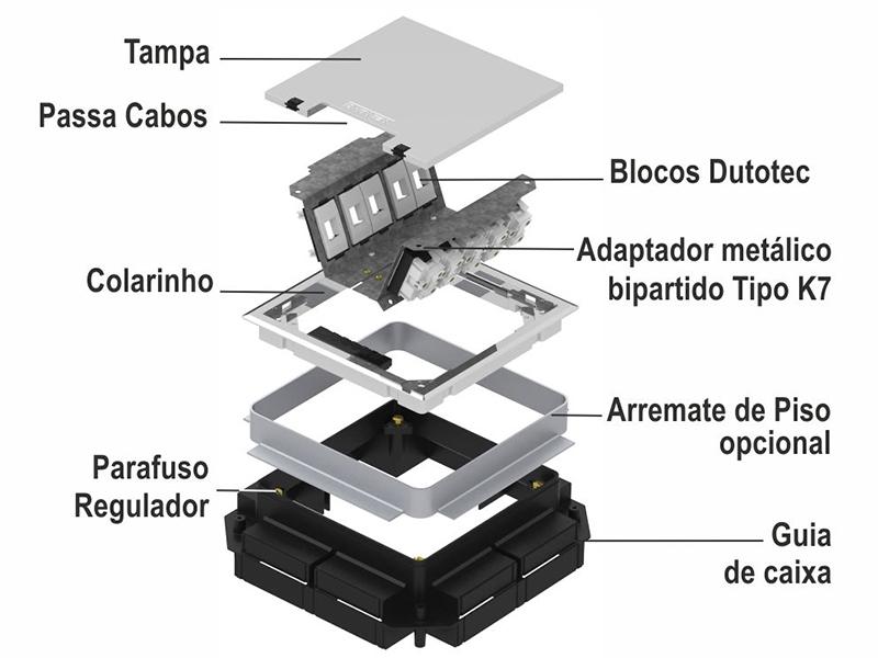 Componentes das caixas de Piso SQR 2x2 e 3x3